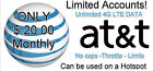 AT&T Unlimited 4G LTE Data Account - You own it $20.00 Monthly
