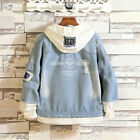 Anime The Kings Avatar Letter Denim Hoodie Jean Jackets Ripped Layered Coat Top
