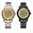 Men's Classic Steampunk Skeleton Mechanical Watch Stainless Steel Wristwatch image