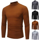 Men's Solid Color High Collar Turtle Neck Long Sleeve Sweater Stretch T-Shirt
