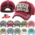 Dog Mom Vintage Distressed Adjustable Baseball Cap Hat