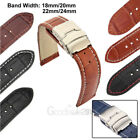 Mens Genuine Leather Watch Strap Band Croco Deployment Clasp Spring Bars 2020New image