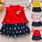 Sweet Kids Toddler Girls Princess Leaves Print Mesh Dress Outfit Party Dresses