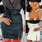 Women Fashion PU Leather Pencil Bodycon High Waist Stretch Zipper Bow Mini Skirt