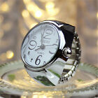 Stylish Ladies Men Couple Dial US Analog Watch Steel Elastic Finger Ring Watches