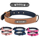 Adjustable Leather Personalised Dog Collar Soft Padded Free Engraved Pet ID Name