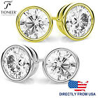 Sterling Silver 925 Bezel Set Round Brilliant Round Cz Stud Earrings
