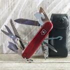 Victorinox Huntsman Lite Ruby Red Swiss Army Knife w Case LED Light Excellent