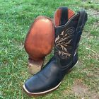 Women's Western Rodeo Square Toe Cowgirl Boots Leather Brown Black Honey Est 570