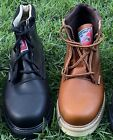 Men's Work Construction Boots Leather Brown Black STEEL TOE oil water resistant
