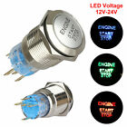 USA 12V 19mm Momentary LED Marine Car Stainless Horn Push Button Light Switch