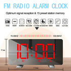 Curved LED Snooze Alarm Clock Dimmer Sleep Timer FMRadio Digital Alarm Clock USB
