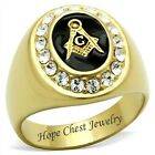 HCJ MEN'S GOLD TONE STAINLESS STEEL OVAL ENAMEL CRYSTAL MASONIC RING SIZE 8 - 13