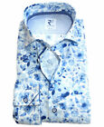 R2 Amsterdam Langarmhemd weiss blau Floral Print Modern Fit Patches Gr.38 bis 48