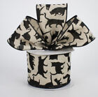 """Beige Linen Black Cats Wired Kitty Ribbon 2 1/2"""" Wire Edged 2.5"""" Up to 10 Yards"""