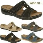 Ladies Womens Wide Fit Low Wedge Comfort Summer Cushion Walking Sandals Shoes