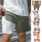 Men's 2 In 1 With Phone Pocket Gym Running Shorts Sports Fitness Training Gym