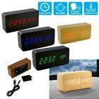 Wooden LED Digital Alarm Clock Voice Control Calendar Thermometer USB/AAA US
