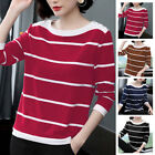 Women's Crew Neck Striped Long Sleeve T-Shirt Ladies Casual Loose Tops Blouse