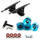7 Inch Four Wheel Skateboard Longboard Trucks Holders Wheels Bearings Combo Kit