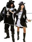 Couples Matching Ladies & Mens Black Musketeer Fancy Dress Costumes Outfits