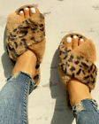 Womens Fluffy Fur Sliders Slippers Ladies Slip On Flat Comfy Sandals Shoes Size