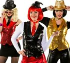 Ladies Sequinned Disco Waistcoat Vest Fancy Dress Costume Outfit 8-26 Plus Size