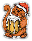 Christmas Cat With Beer Cartoon Animal Car Bumper Sticker Decal - ''SIZES''