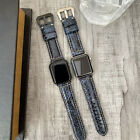 For Apple watch Series 5 44mm Quality Blue Snake style Leather Watch Strap Band