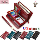 SENDEFN 100 Genuine Leather RFID Protection Wallets Large Capacity Long Purse
