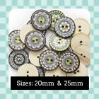 Shabby Chic - Vintage - Retro -  Mandala - Wooden Buttons - Crafting - Sewing