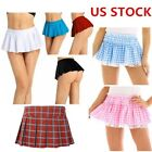 Women Schoolgirl Skirt Sleepwear Plaid Mini Pleated Dress Role Play Sexy Skirts