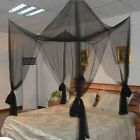 Mosquito Netting Canopy Dome Curtain 4 Corner Post Bedroom Decor King Bed  image