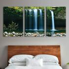 wall26 3 Panel Canvas Wall Art - Landscape Waterfall in The Forest