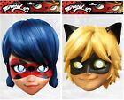Girls Boys Miraculous Ladybug or Cat Noir Card Mask Fancy Dress Costume Outfit