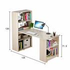 Computer Desk PC Table Study Writing Office 4 Tier Shelves Bookshelf 120cm Wood