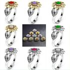 12 Colors Charm Jewelry Rings Rhinestone Accessory Sunflower Party Rings US image