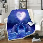 Love Dolphin 3D Printed Fashion Fleece Sherpa  Warm Bed Sofe Throw Blanket