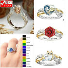 USA Rhinestone Birthstone Ring Cross Flower Rings Rose Gold Jewelry Gifts Women  image