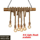 FixedPriceindustrial retro bamboo 4 light pendant hemp rope hanging ceiling lamp bar  c