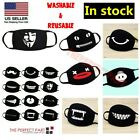 Funny Cartoon Masks Cover Funny Unisex Teeth Mouth Black Cotton Washable