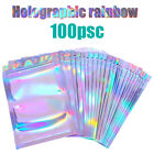 100pcs One Side Clear Holographic Laser Aluminum Foil Zip Lock Bags Thick