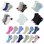 Womens Patterned Trainer Socks Ladies Dots Hearts Stripes Plain Ankle Liner 4-7