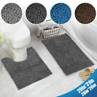 2PCS/Set Bathroom Rugs Soft Plush Microfiber Shaggy Non-Slip Shower Bath Mat USA
