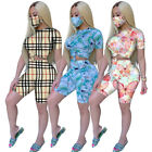Womens Casual Short-Sleeved Tops And Short Pants Tracksuit With Mask Summer Sets