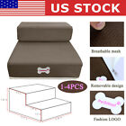 Brown Pet Stairs 2 Steps Indoor Ramp Portable Dog Cat Ladder with Washable Cover
