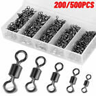 200/500pcs Fishing Hook Connector Swivel Ball Bearing Rolling Solid Ring 4#-12#