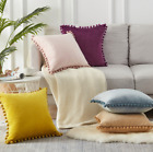 Pom-poms Luxury Soft Particle Velvet Cushion Covers Solid Color Sofa Decor UK