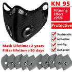 Face Mask Mouth Covers With Breathing Valve+activated Carbon Filter Pad Washable