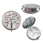 Retro Butterfly Round Metal Pill Case Tablet Pill Box Organizer Container Holder